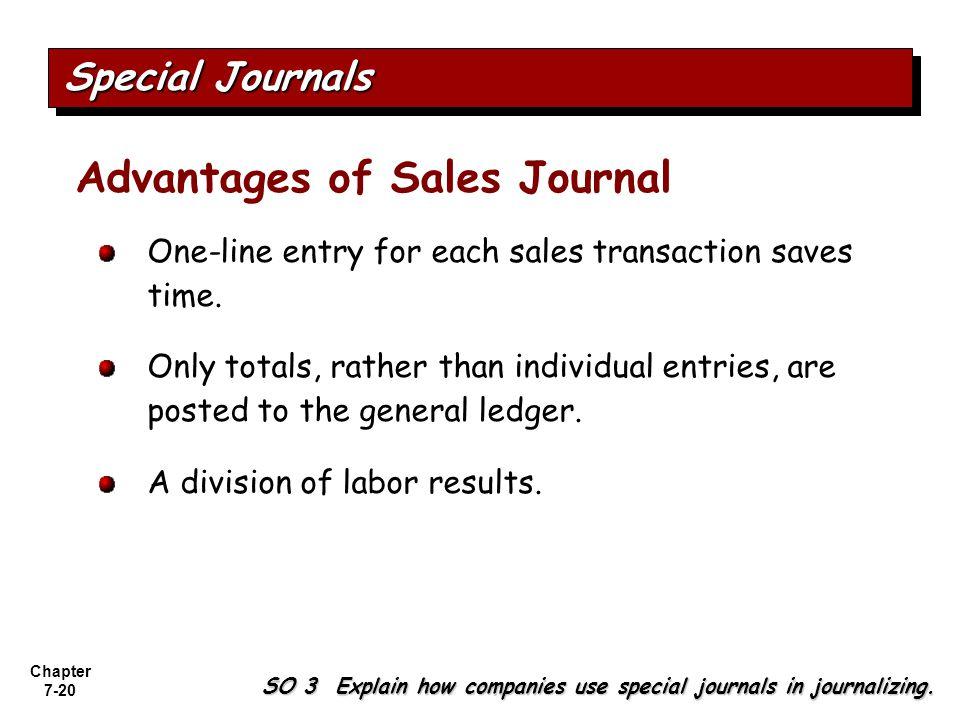 Advantages of Sales Journal