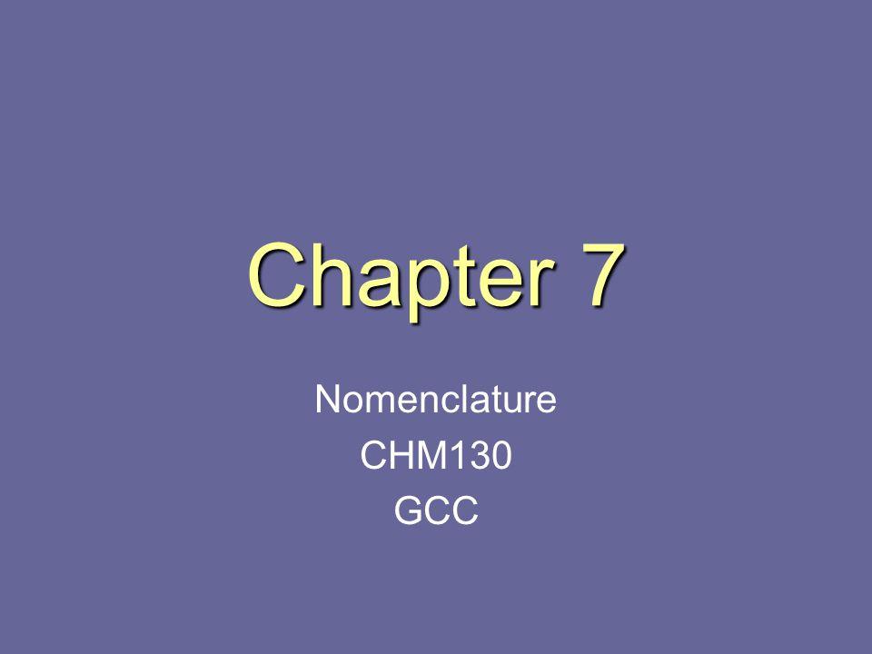 Chapter 7 Nomenclature CHM130 GCC