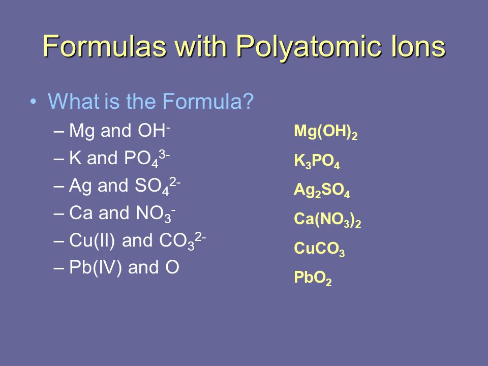 Formulas with Polyatomic Ions