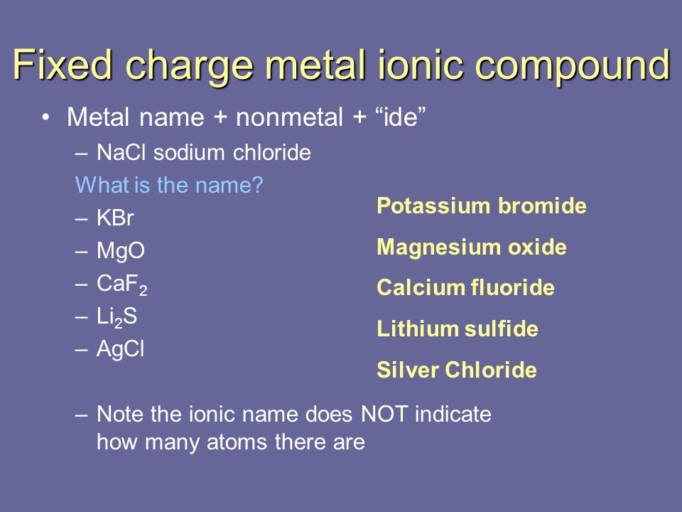 Fixed charge metal ionic compound