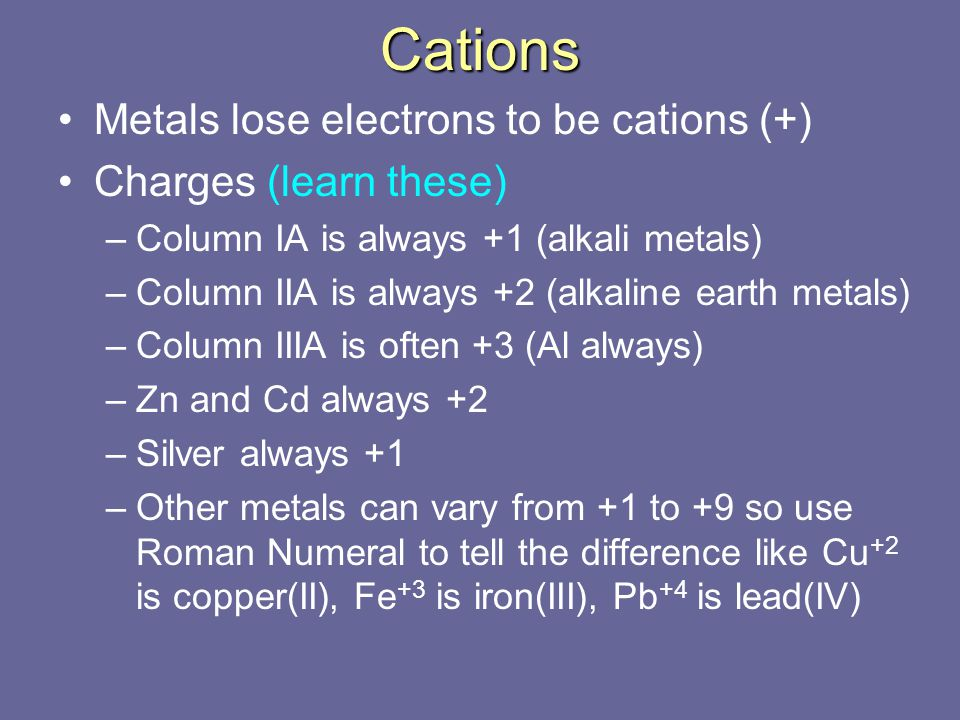 Cations Metals lose electrons to be cations (+) Charges (learn these)