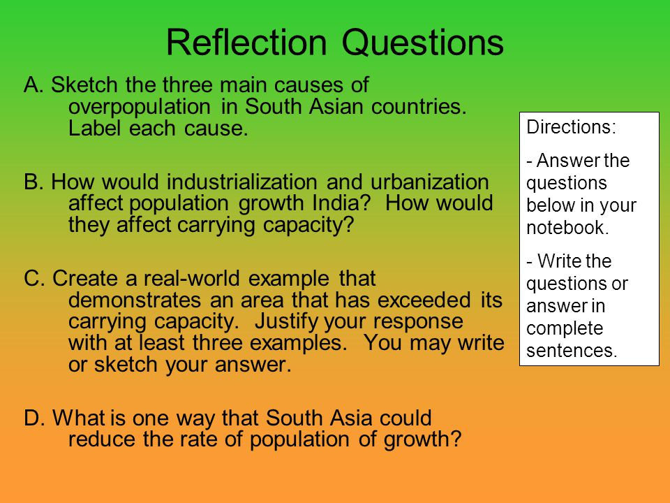 Reflection Questions A. Sketch the three main causes of overpopulation in South Asian countries. Label each cause.