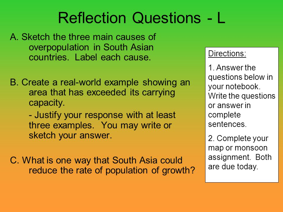 Reflection Questions - L