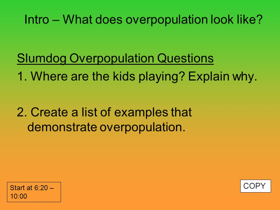 Intro – What does overpopulation look like