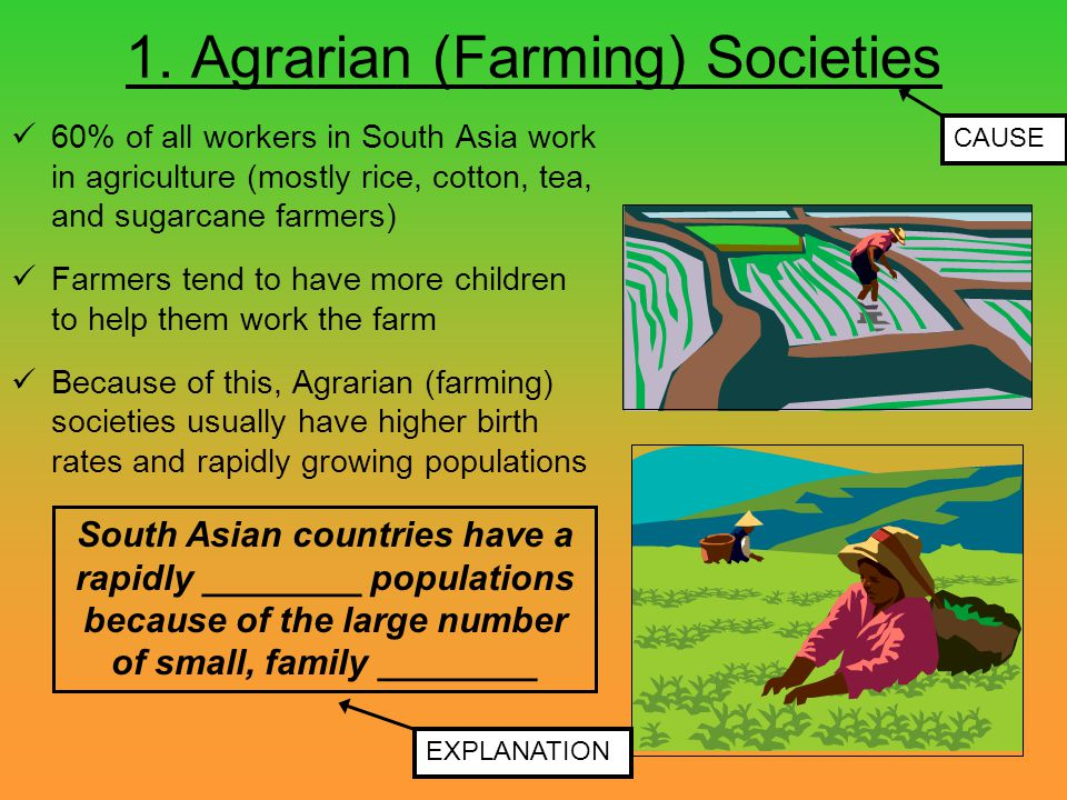 1. Agrarian (Farming) Societies