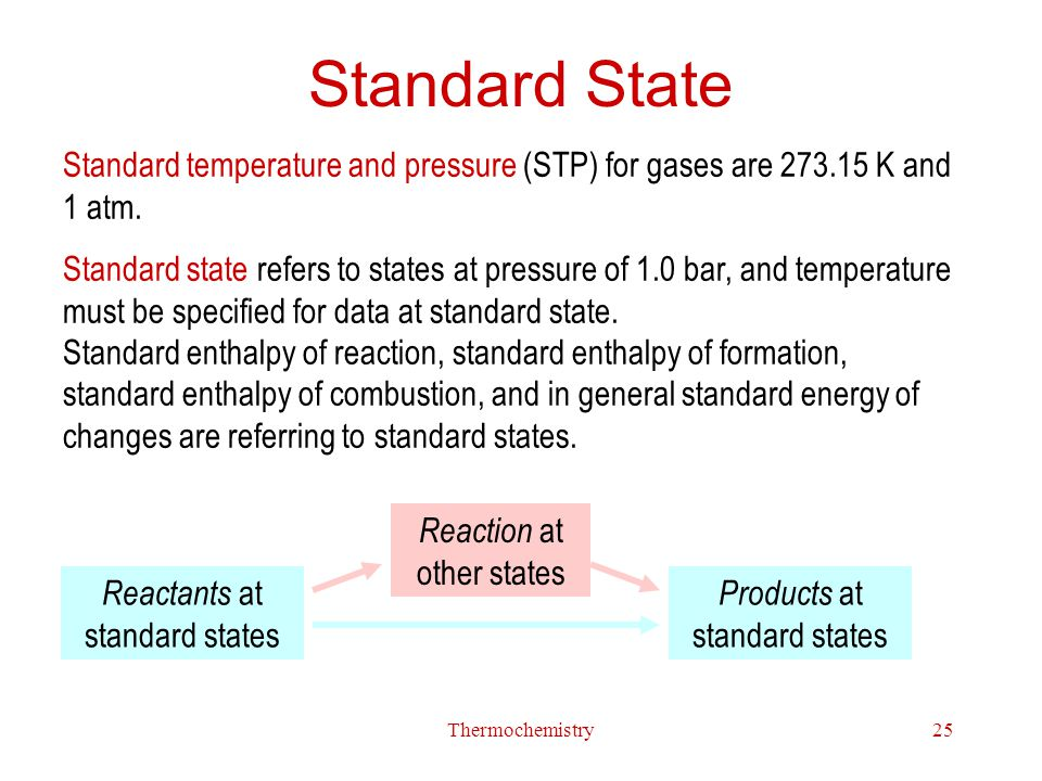Standard State Standard temperature and pressure (STP) for gases are 273.15 K and 1 atm.