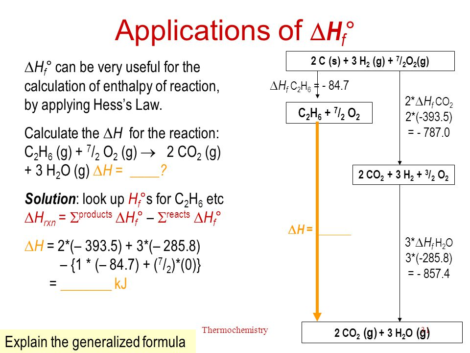 Applications of Hf° 2 C (s) + 3 H2 (g) + 7/2O2(g) Hf° can be very useful for the calculation of enthalpy of reaction, by applying Hess's Law.