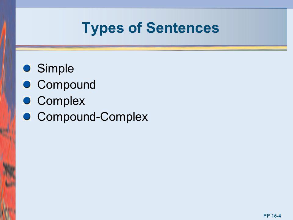 Types of Sentences Simple Compound Complex Compound-Complex PP 15-4