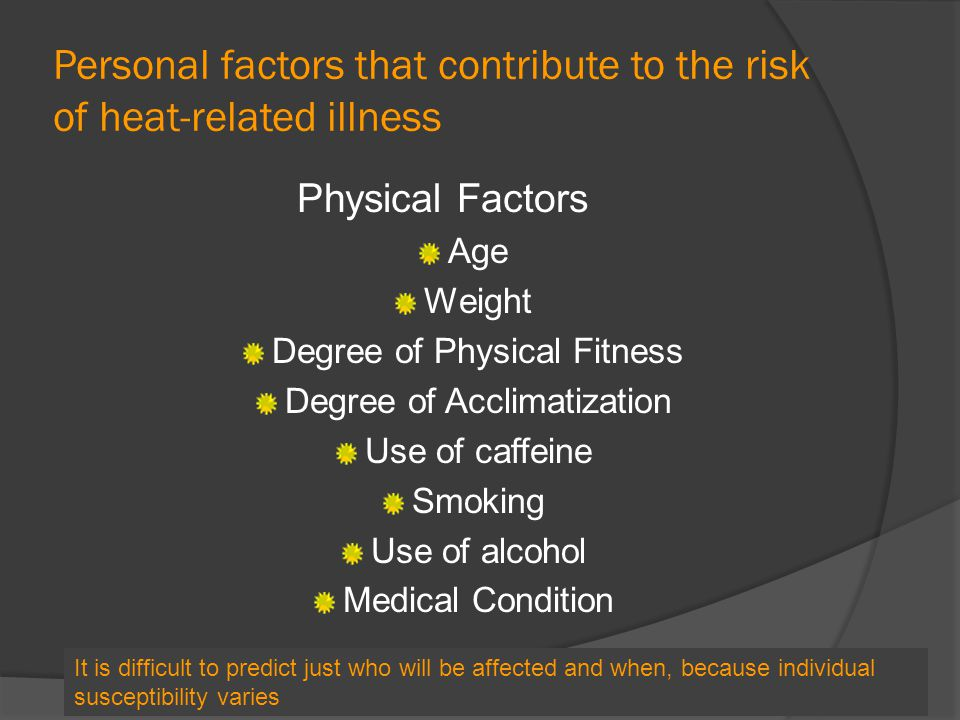 Personal factors that contribute to the risk of heat-related illness