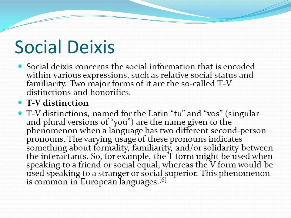 Social Deixis