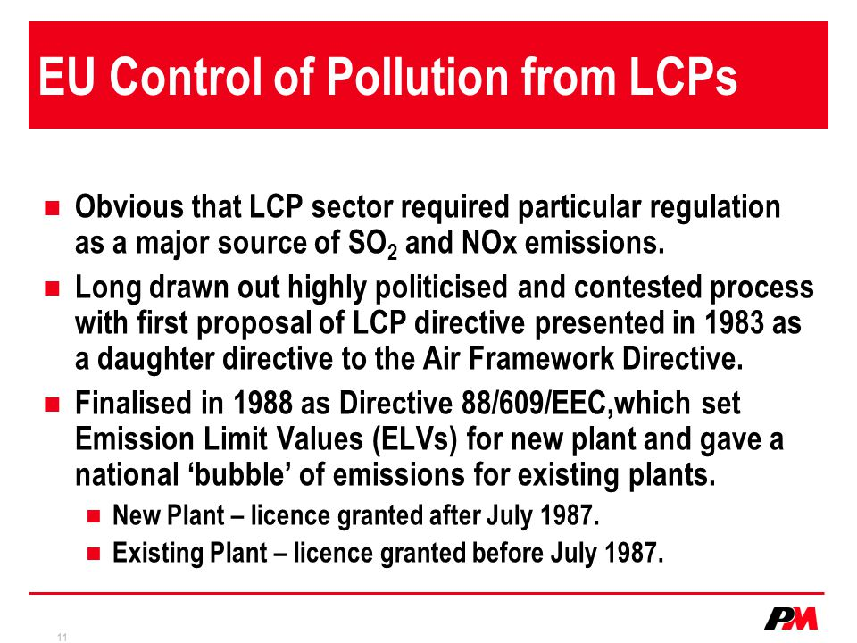 EU Control of Pollution from LCPs