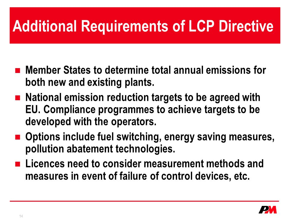 Additional Requirements of LCP Directive