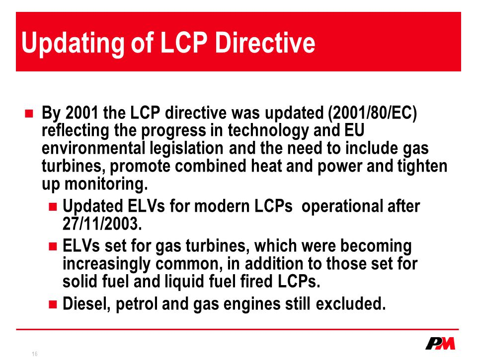 Updating of LCP Directive