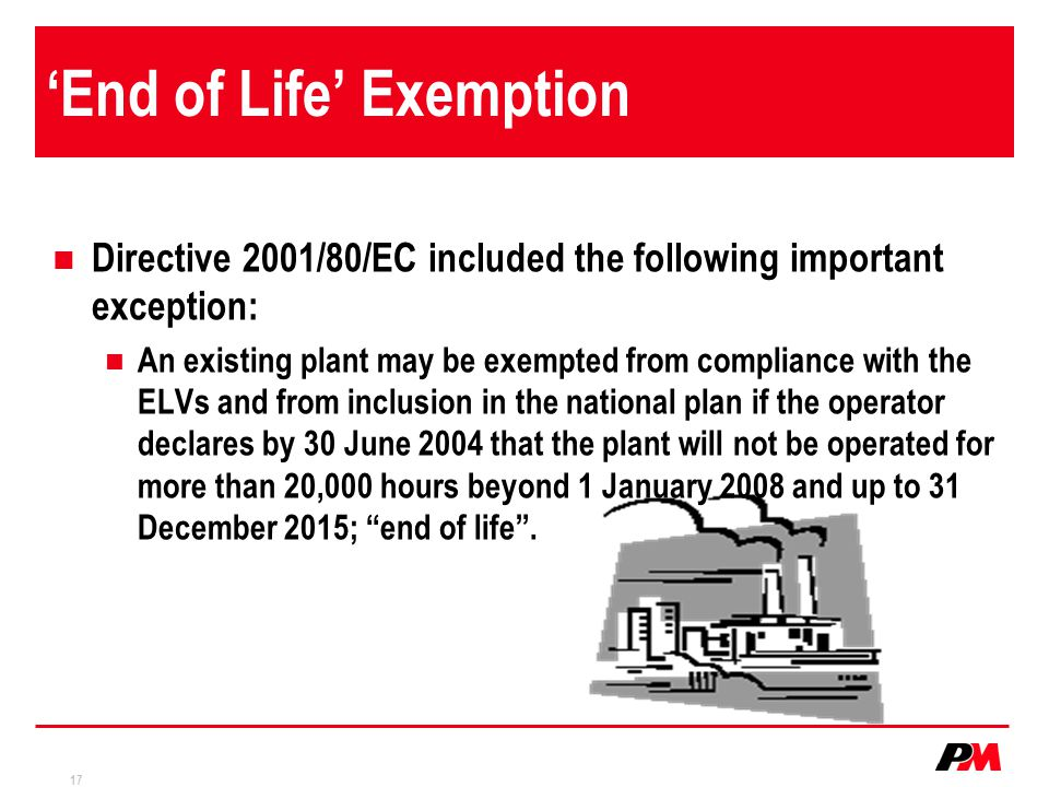 'End of Life' Exemption