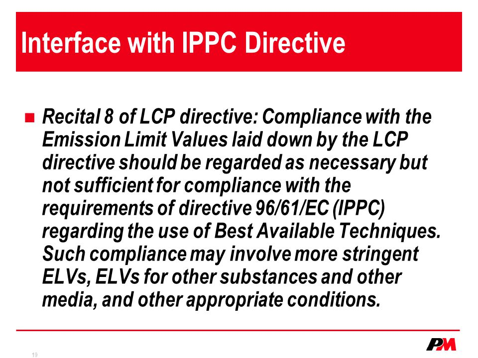Interface with IPPC Directive