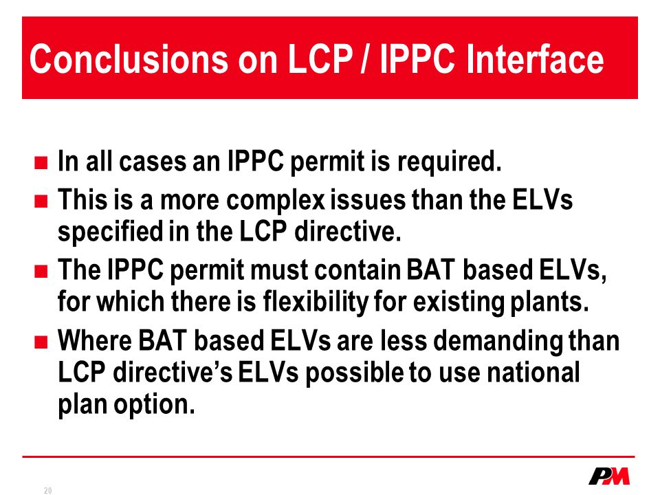 Conclusions on LCP / IPPC Interface