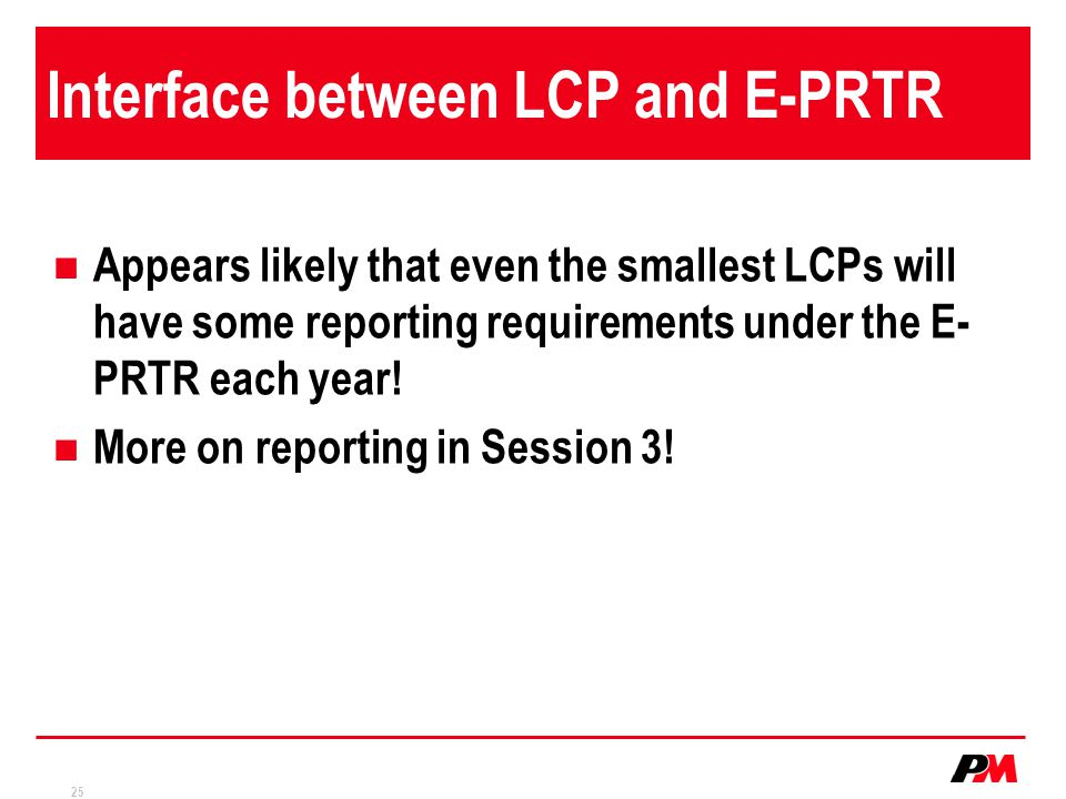 Interface between LCP and E-PRTR