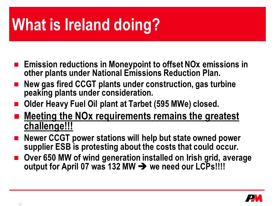 What is Ireland doing Emission reductions in Moneypoint to offset NOx emissions in other plants under National Emissions Reduction Plan.
