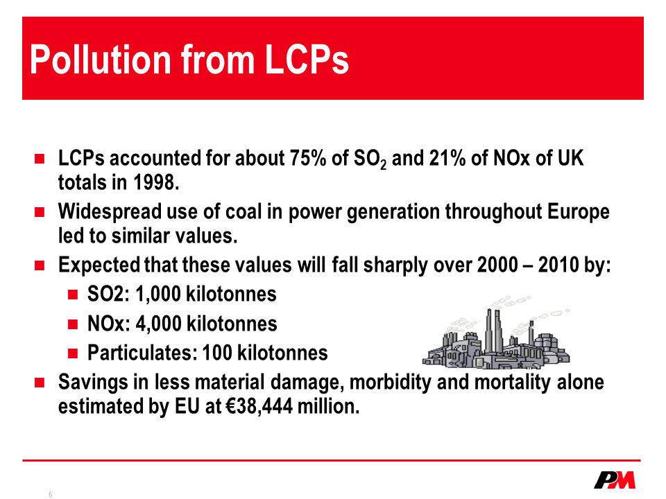 Pollution from LCPs LCPs accounted for about 75% of SO2 and 21% of NOx of UK totals in 1998.