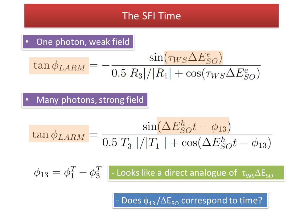The SFI Time One photon, weak field Many photons, strong field