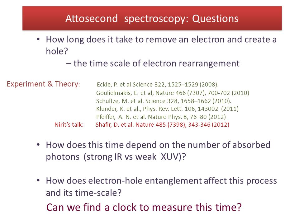 Attosecond spectroscopy: Questions