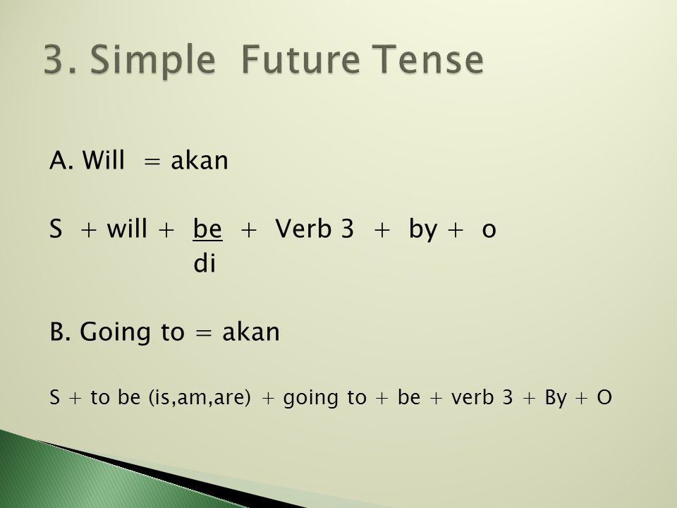 3. Simple Future Tense A. Will = akan S + will + be + Verb 3 + by + o