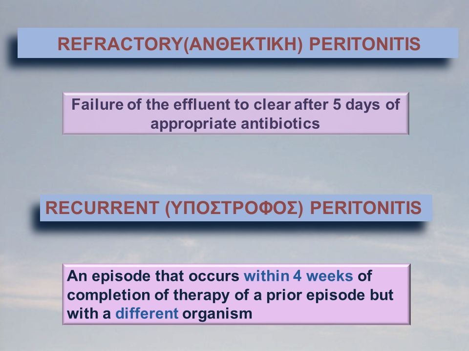REFRACTORY(ANΘΕΚΤΙΚΗ) PERITONITIS