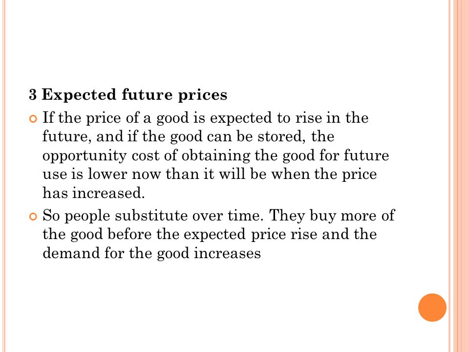 3 Expected future prices