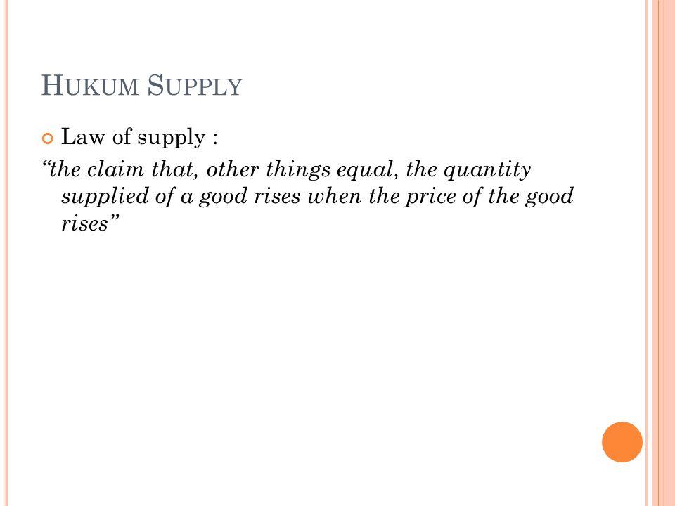 Hukum Supply Law of supply :