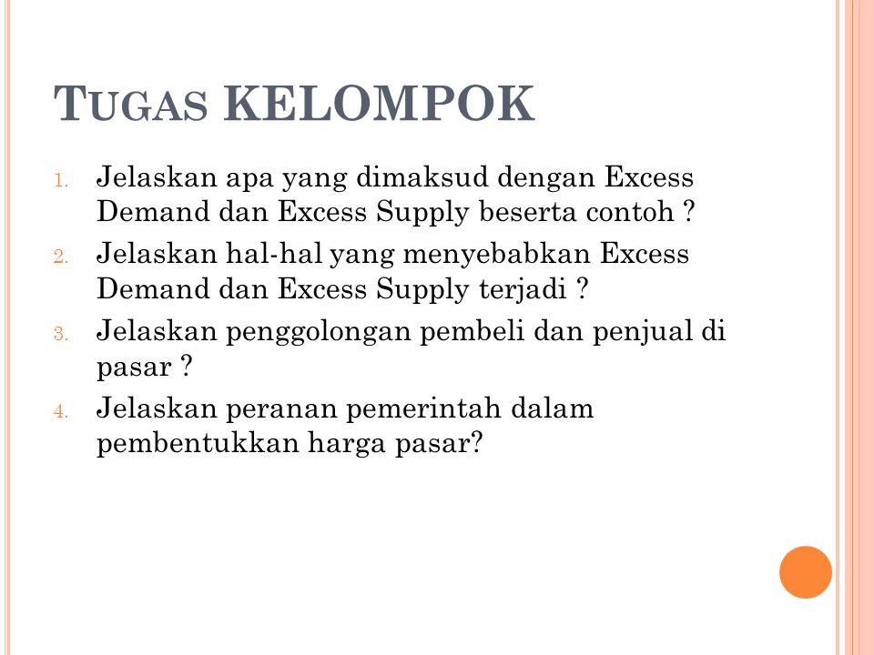 Tugas KELOMPOK Jelaskan apa yang dimaksud dengan Excess Demand dan Excess Supply beserta contoh