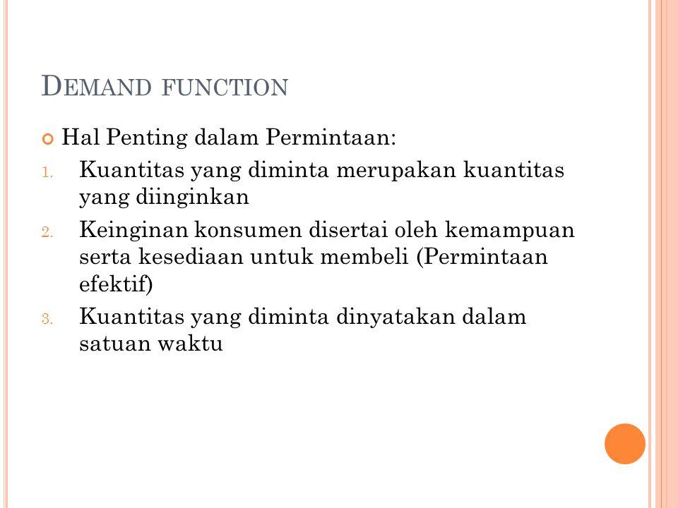 Demand function Hal Penting dalam Permintaan: