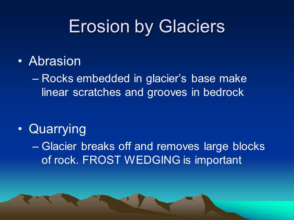 Erosion by Glaciers Abrasion Quarrying
