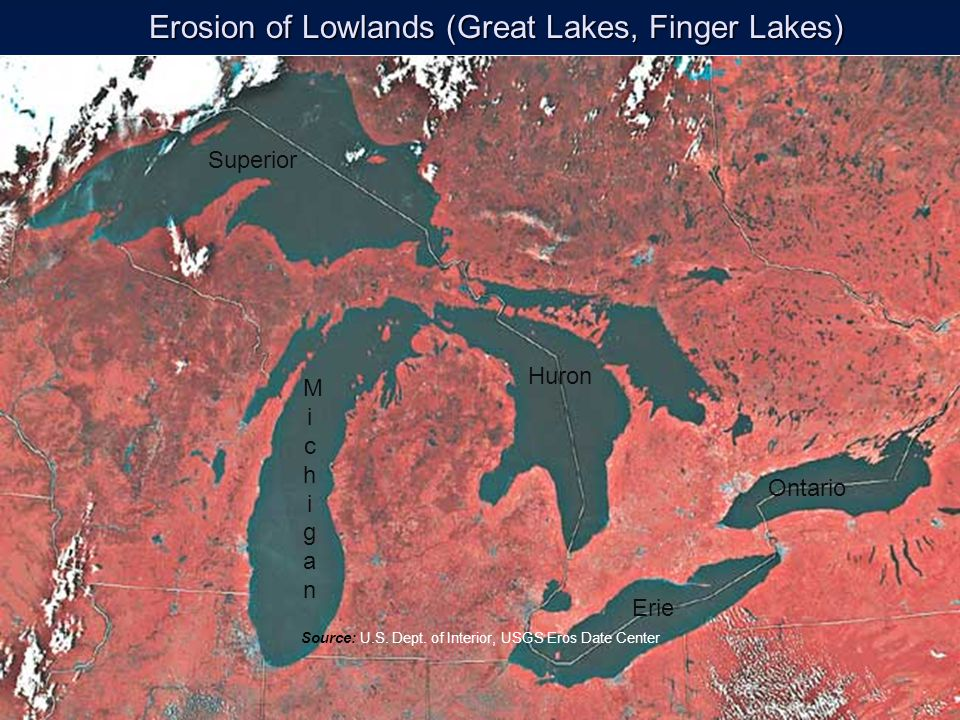 Erosion of Lowlands (Great Lakes, Finger Lakes)