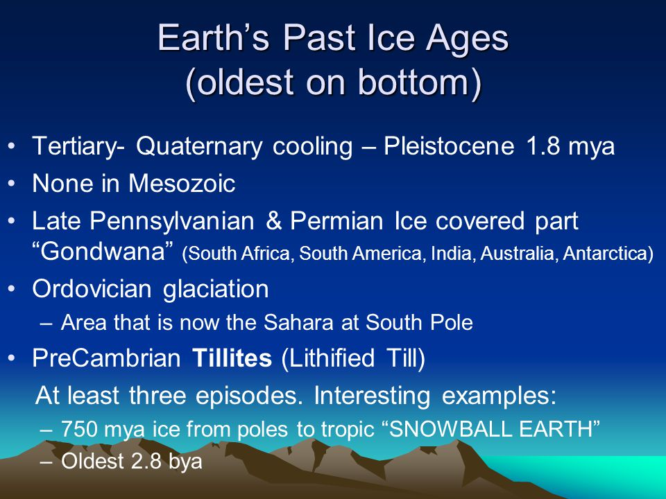 Earth's Past Ice Ages (oldest on bottom)