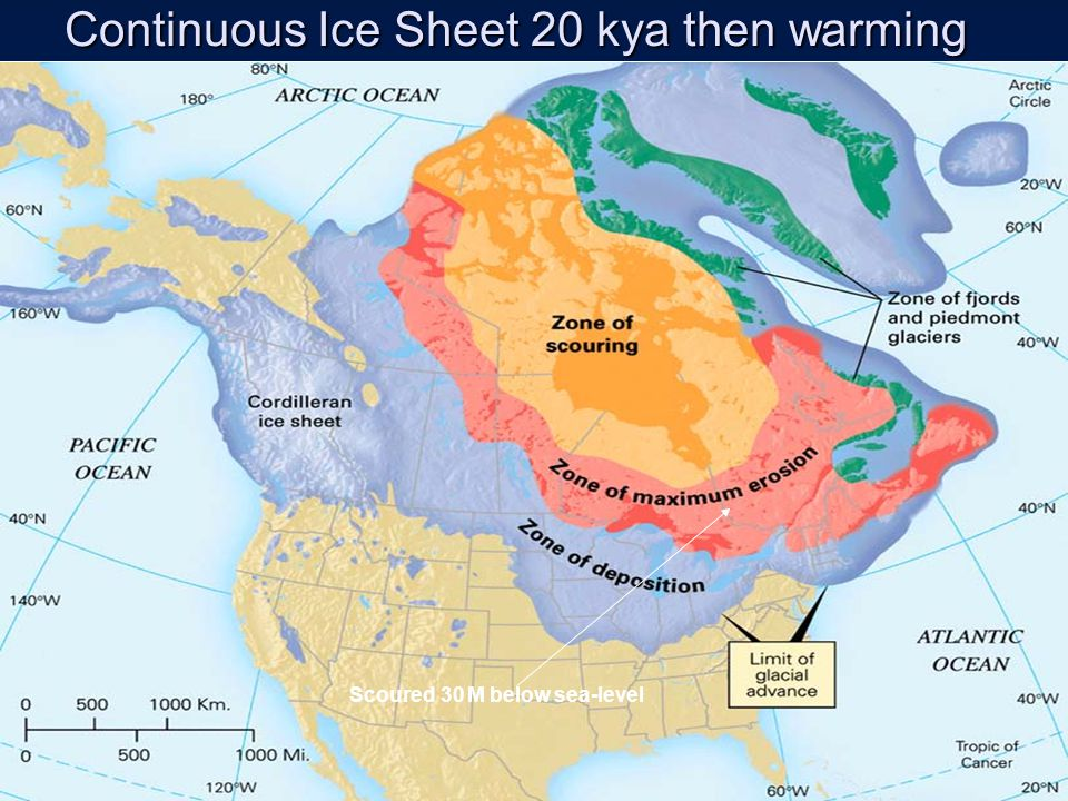 Continuous Ice Sheet 20 kya then warming