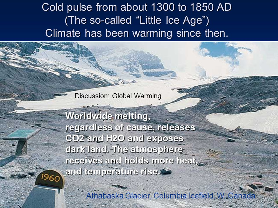 Cold pulse from about 1300 to 1850 AD (The so-called Little Ice Age ) Climate has been warming since then.