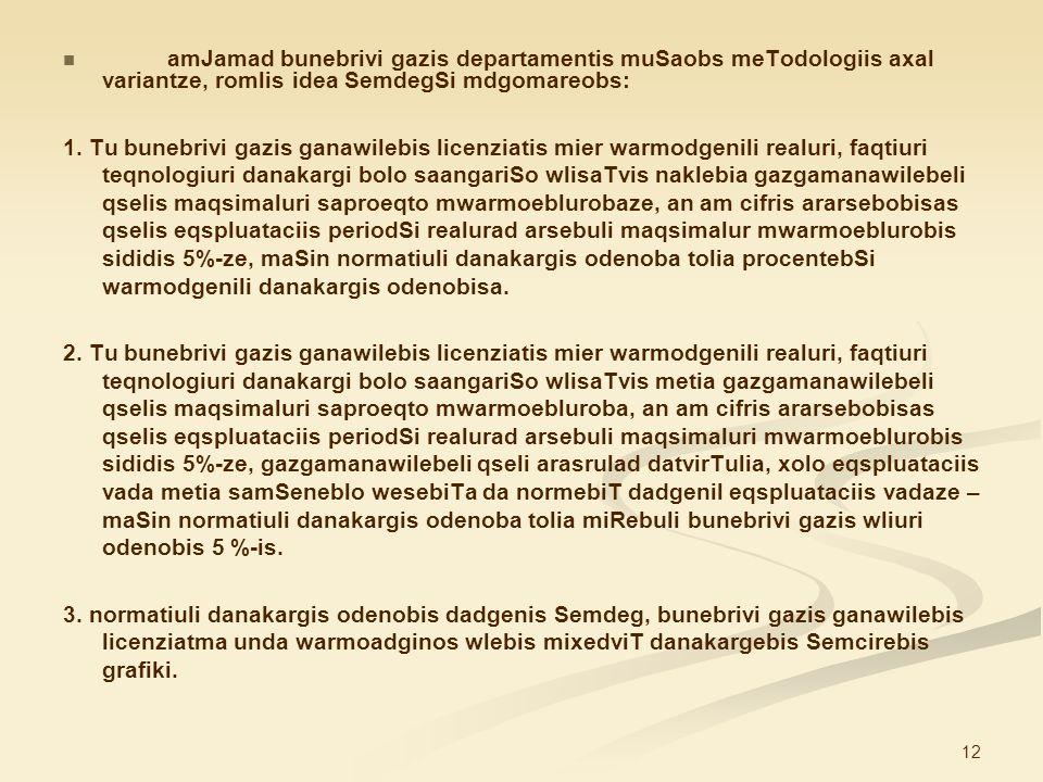 amJamad bunebrivi gazis departamentis muSaobs meTodologiis axal variantze, romlis idea SemdegSi mdgomareobs: