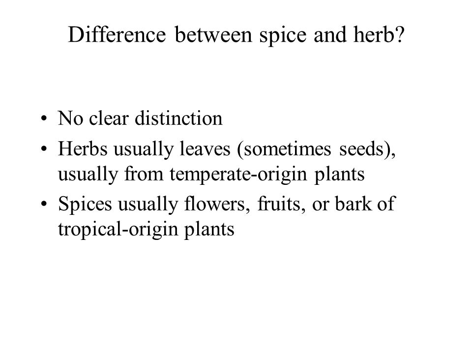 Difference between spice and herb