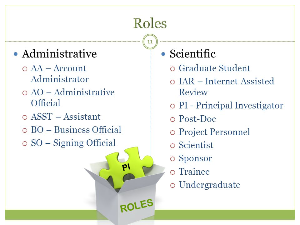Roles Administrative Scientific ROLES AA – Account Administrator