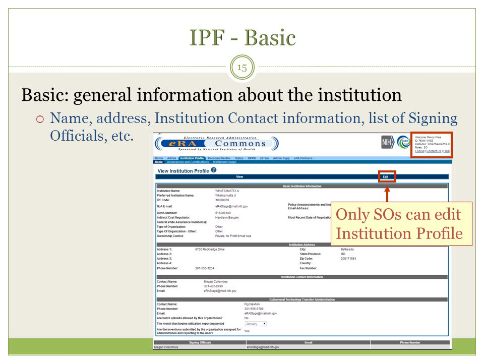 IPF - Basic Basic: general information about the institution