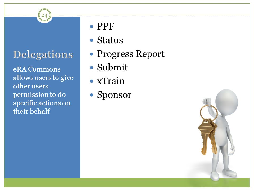 Delegations PPF Status Progress Report Submit xTrain Sponsor