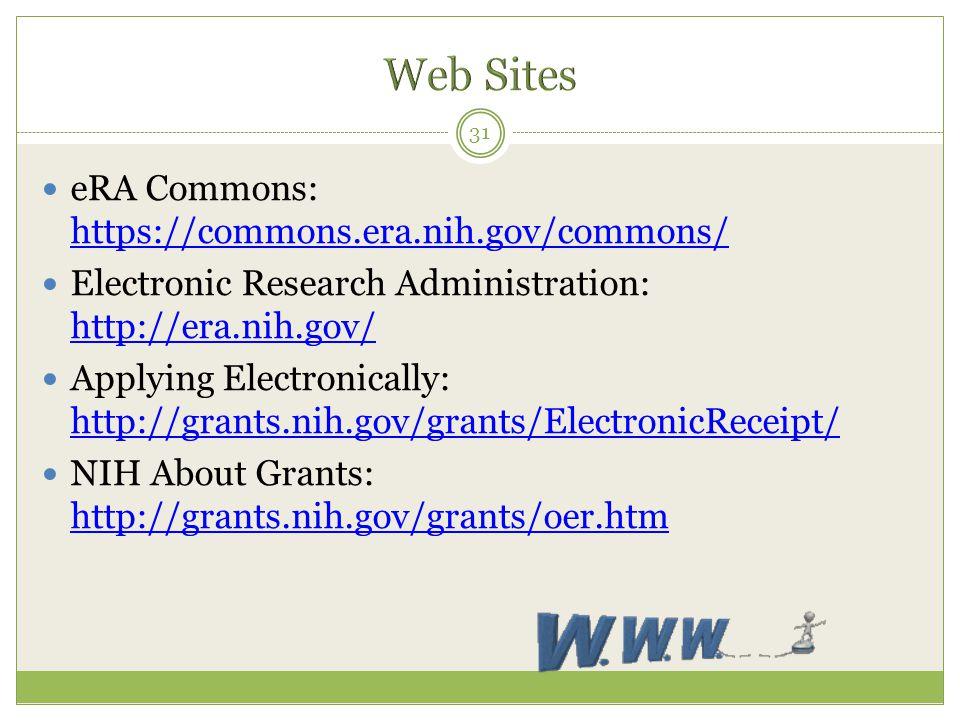 Web Sites eRA Commons: https://commons.era.nih.gov/commons/