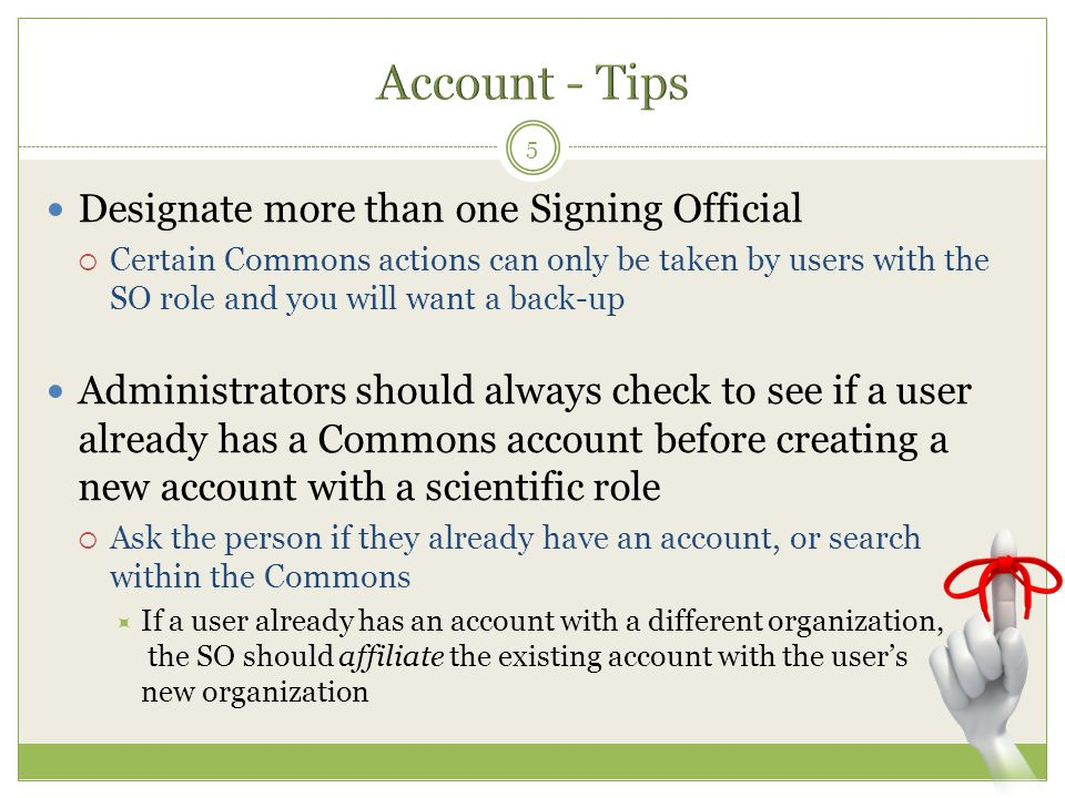 Account - Tips Designate more than one Signing Official