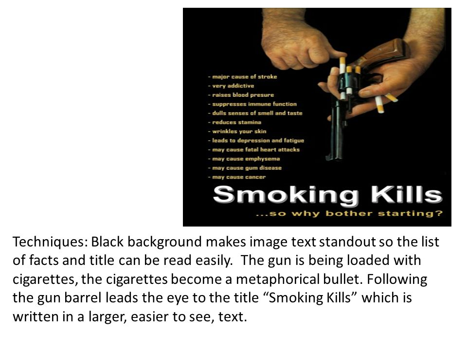 Techniques: Black background makes image text standout so the list of facts and title can be read easily.