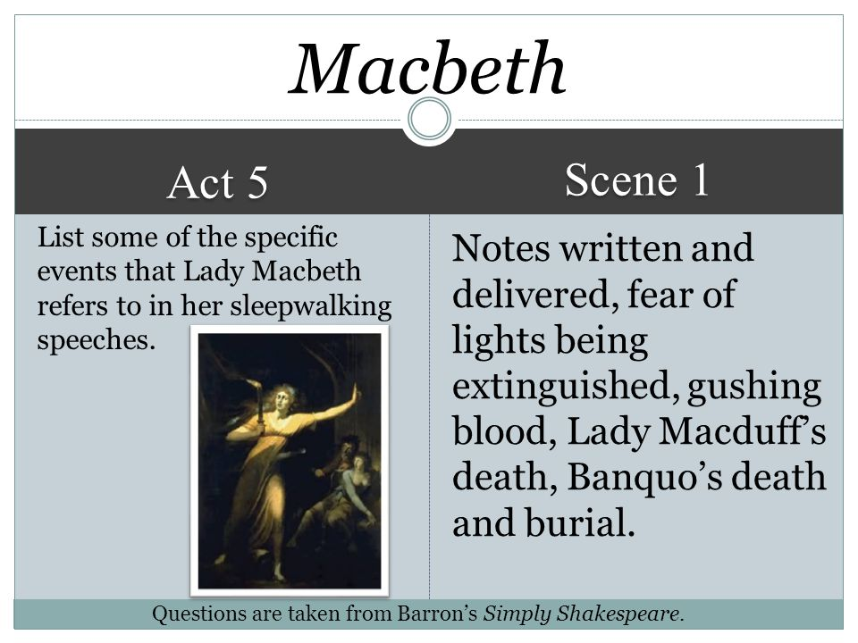 Macbeth Scene 1. Act 5. List some of the specific events that Lady Macbeth refers to in her sleepwalking speeches.