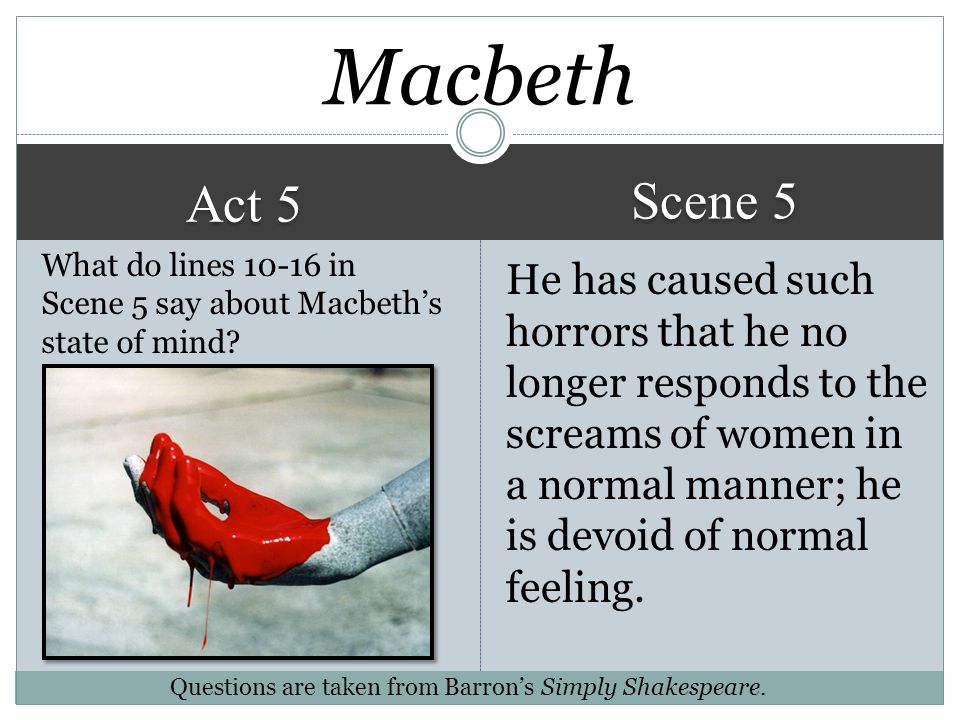 Macbeth Scene 5. Act 5. What do lines 10-16 in Scene 5 say about Macbeth's state of mind