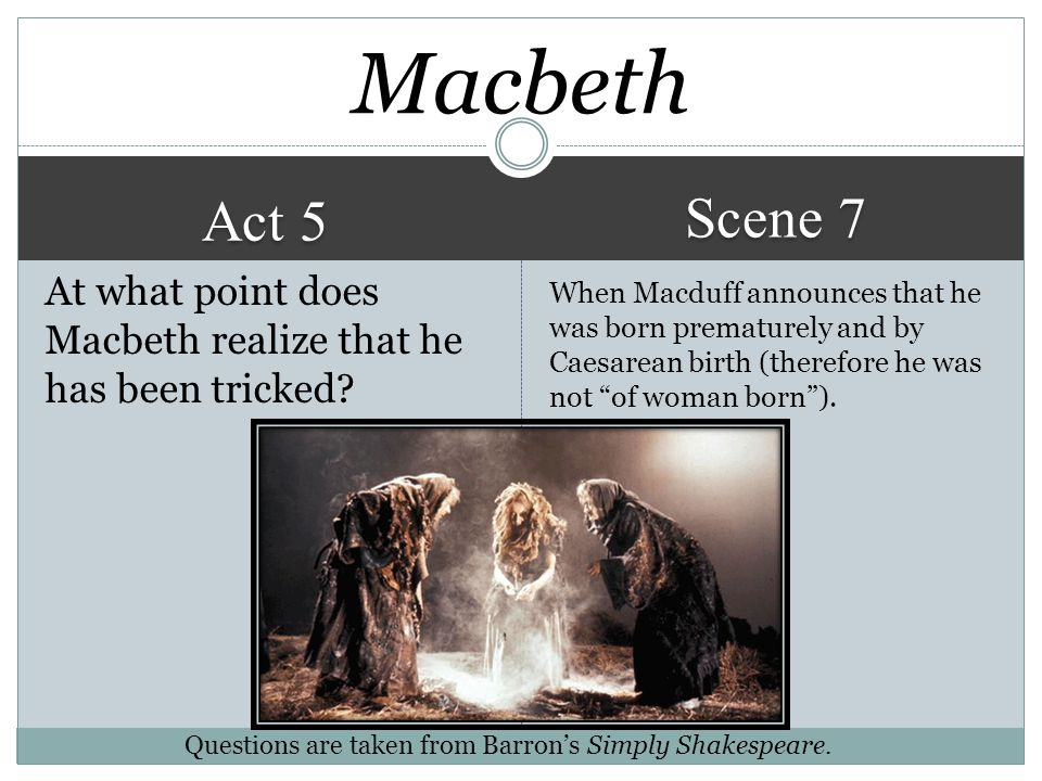 Macbeth Scene 7. Act 5. At what point does Macbeth realize that he has been tricked