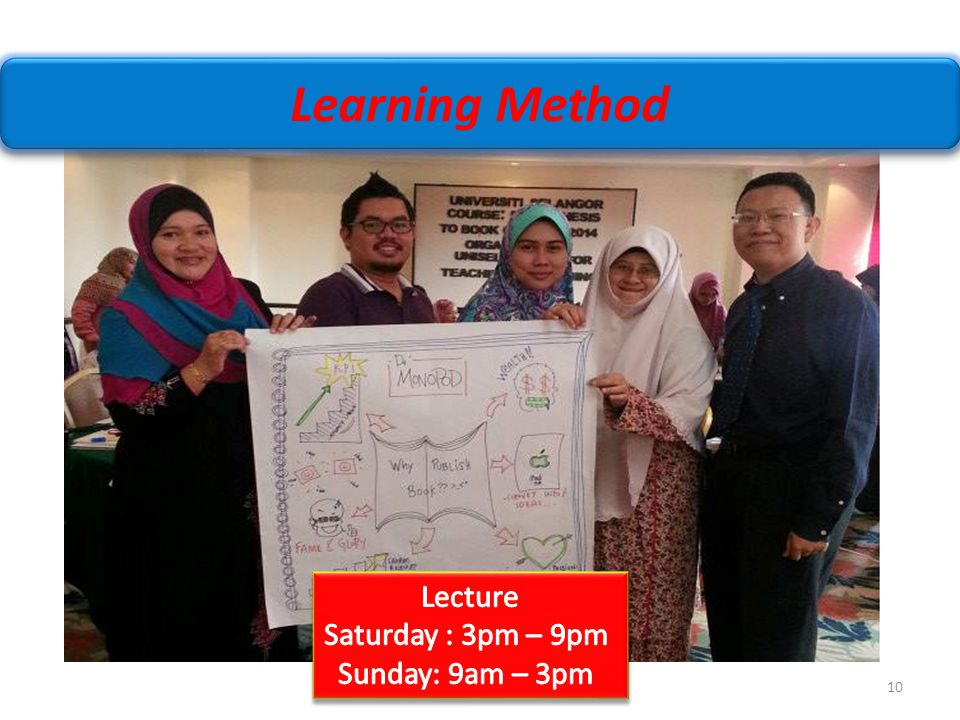 Learning Method Lecture Saturday : 3pm – 9pm Sunday: 9am – 3pm