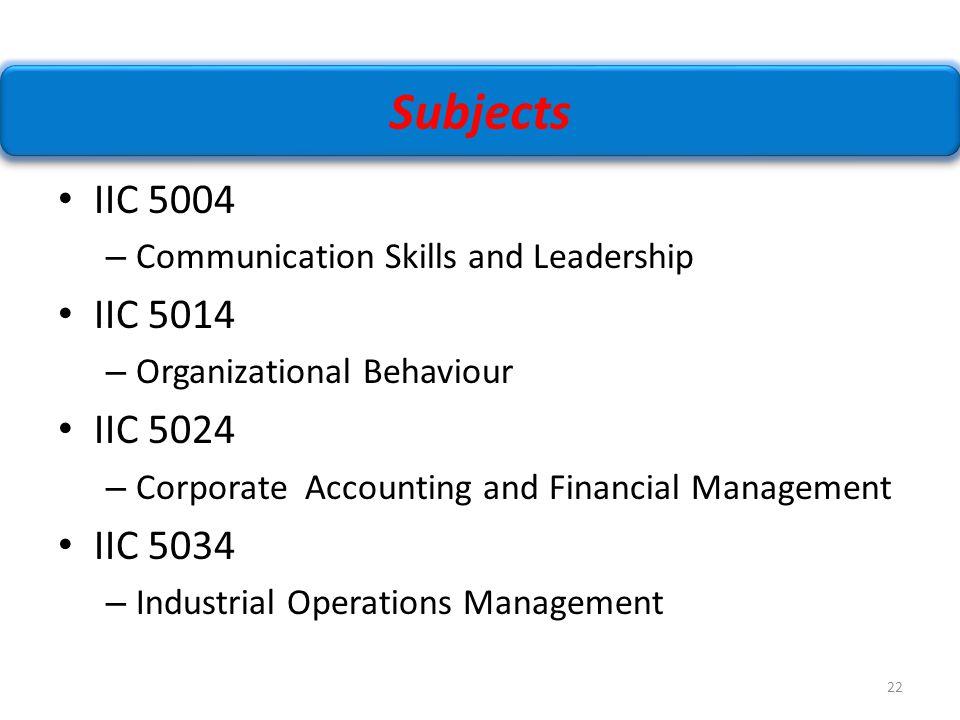 Subjects IIC 5004 IIC 5014 IIC 5024 IIC 5034