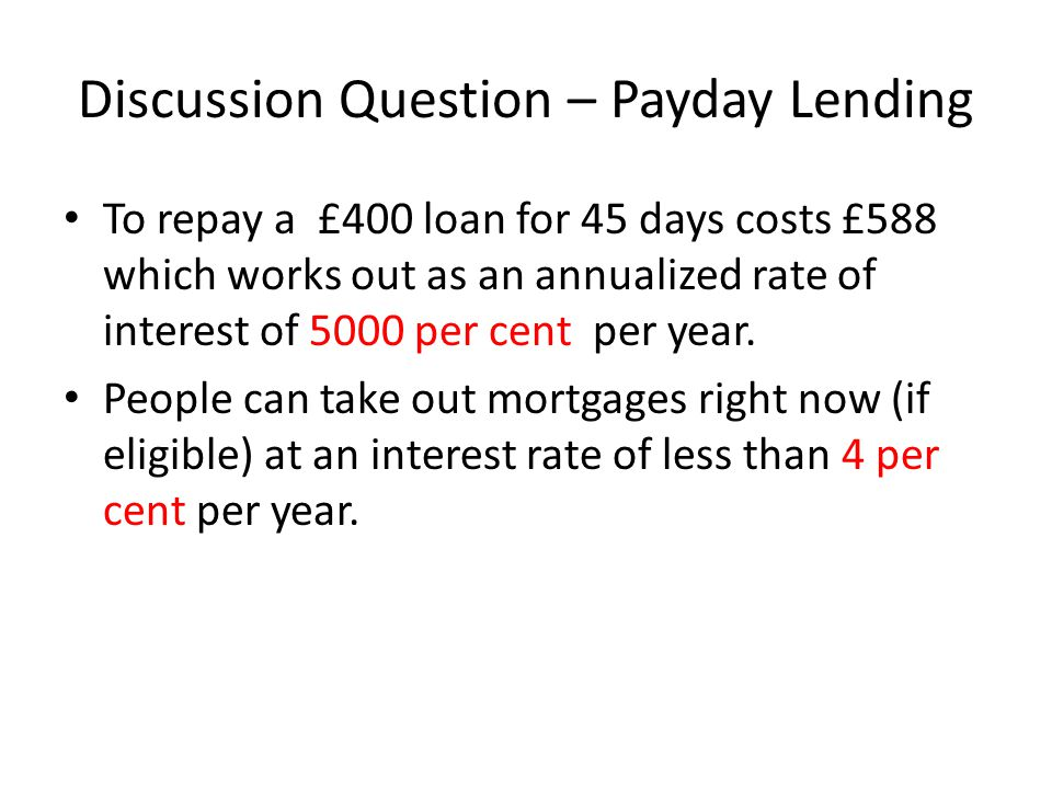 Discussion Question – Payday Lending